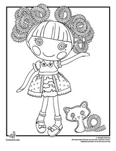 Six super-cute Lalaloopsy coloring pages, including the Silly Hair Jewel Sparkles doll and the popular Coral Sea Shells.