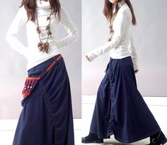 a nomad skirt with attached bag Q1112b by idea2lifestyle on Etsy, $66.00