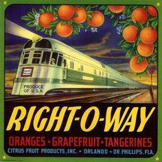 Florida FL Orlando Right-O-Way Train Orange Citrus Fruit Crate Box Label Art Print
