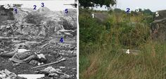 Then and now picture. The number 2 is directly above the wall in the sniper's nest.