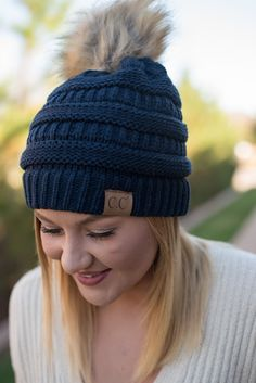 4bbdfb35e0fd1 CC solid beanie with fur pom navy from Lush Fashion Lounge Cc Hats