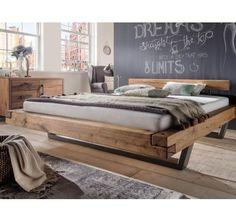 Balkenbett mit Stahlkufen Wildeiche