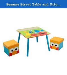 Sesame Street Table and Ottoman Set. Adorable wood sturdy table and two storage ottomans are perfect for any childs' room or play room.