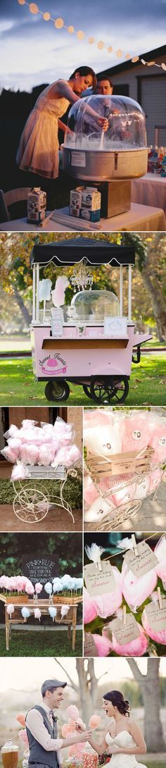 25 Fun Dessert Bar Alternatives That Will Get your Guests Involved - Cotton Candy Station!