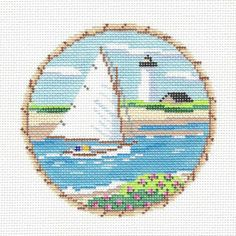 Round HP Needlepoint Canvas by MBM. This scene could be anywhere along the New England Coast, Nantucket Island or Martha's Vineyard. Sailing Cat Boat New England Coast. Needlepoint By Wildflowers. Needlepoint Designs, Needlepoint Canvases, Nautical Canvas, New England, Needlework, Sailing, Boat, Hand Painted, Stitch