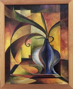 stilleben mit blauer zwiebel-vase, ölmalerei, 40x50, 2004