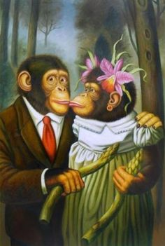 Handicrafts Art Repro oil painting:Monkey portraits In canvas 16x24 Inch