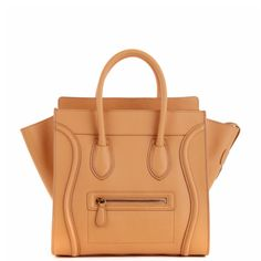 Celine Luggage Tote (30CM) in yellow smooth calf leather.