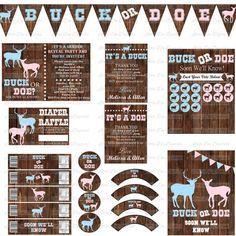 Buck or Doe Gender Reveal Party Package - Printable Instant Download - Gender Reveal Decorations
