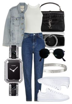 """#Look:#469"" by dollarwomanlux ❤ liked on Polyvore featuring Yves Saint Laurent, Cartier, Current/Elliott, Rick Owens, Topshop, Ray-Ban, Chanel and adidas"
