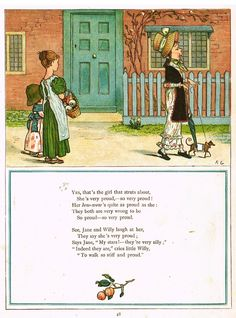 """Kate Greenaway's 'Under the Window' - """"GIRL THAT STRUTS AROUND"""" - Chromolithograph - 1878"""