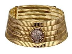 Bulgari Tubogas choker in gold with Hellenistic silver coin, 1980