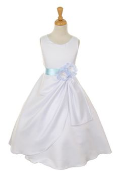 Girls Long White Dresses with Baby Blue Flower and Sash