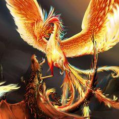 Oriental Phoenix VS Red Dragon by ~ohnios on deviantART Phoenix Artwork, Phoenix Wallpaper, Fantasy Creatures, Mythical Creatures, Dark Creatures, Red Dragon Painting, Fenix Tattoo, Phoenix Dragon, Mythical Dragons
