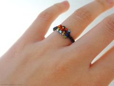 cute little colourful beaded ring diy