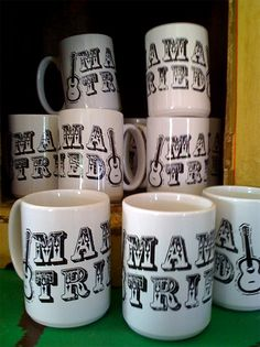 perfectly over-sized ceramic java mug  for all you MeRLE fans!