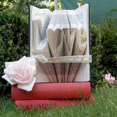 Love with a heart - Folded Book Art - Book Sculpture - Wedding gift - Anniversary - Decor - Antique Book - Love - Girlfriend - Word art (84.99 USD) by FoldedBookGifts