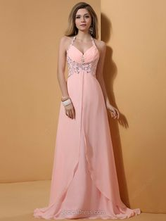 Chiffon A-line Halter Sweep Train Rhinestone Prom Dresses #JCD02014335