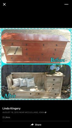 Creative way to make a bench out of an old dresser!  Love!