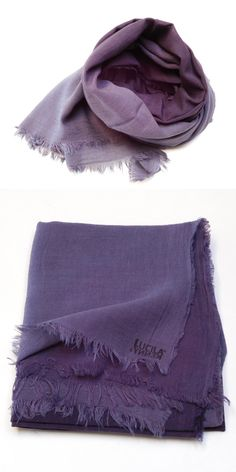 Cotton Scarf  Purple  Thin / Hand-Dyed Large Thin by lucilakenny
