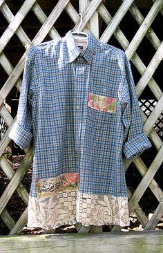 Upcycled clothing, plus size shirt, funky boho blue green plaid tunic, prairie chic oversized plaid shirt, boho shirt, artsy, size 1X / 2X