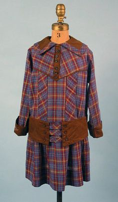 Girl's Plaid Dress, circa 1900