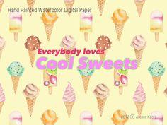 Enjoyable Clip art and DIY Ideas Ice Cream Clipart, Love Ice Cream, Textile Design, Spoonflower, Watercolor Art, Diy Ideas, Clip Art, Hand Painted, Paper