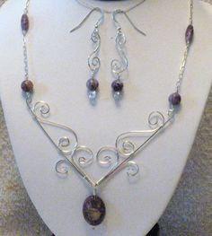 Wire wrapped necklace and earrings.  Love this!