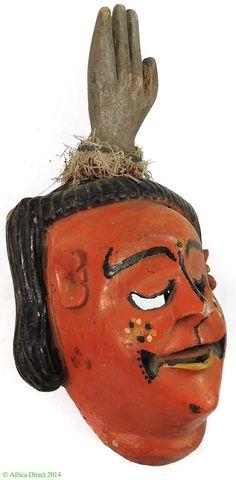 Ogoni Ibibio Smiling Mask Painted Nigeria Africa - Ibibio - African Masks