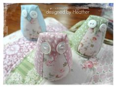 Gorgeous little owl pincushions designed and made by my friend Heather!