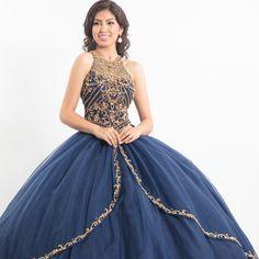 Navy and gold halter quinceañera dress