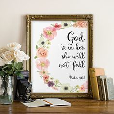 God is in her she will not fall - from Psalm 46:5 ________________________________________________________ ♥Welcome to Two Brushes Designs