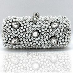 Charming Pearl Beaded Crystal Evening Bag For Women - Black