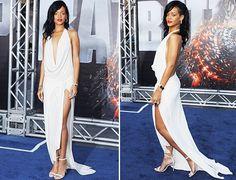 "Rihanna stuns in a white Adam Selman dress at the ""Battleship"" LA premiere."