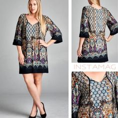BEAUTIFUL CONTRAST BORDER DRESS Beautiful blues, golds, purple & black in this elaborate print. Black border and tassel tie. 96% polyester/4% spandex. Made in USA Measurements upon request. PLEASE DO NOT BUY THIS LISTING, I will personalize one for you. tla2 Dresses