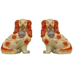 Pair of 19th Century English Staffordshire Porcelain Spaniel Sculptures | From a unique collection of antique and modern sculptures at https://www.1stdibs.com/furniture/decorative-objects/sculptures/