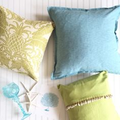 """Now that our renovation is (mostly) complete, I am so excited to jump back into seasonal decorating- and around here, March means """"spring greens""""! Over the years, I have amassed a small collection of decorative throw pillows and covers in a variety of colors and patterns…accent pillows is one of the easiest ways I have …"""