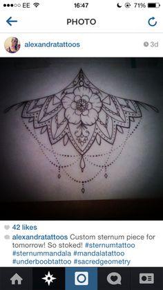 flower sternum lace tattoo