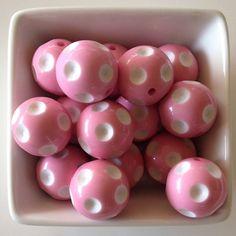 Ten 20mm Light Pink Polka Dot Bubblegum Bead-Chunky Bubblegum Bead Necklace-Bead-Necklace-20mm Bead-Acrylic-Resin-Gumball Beads-Chunky Beads
