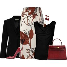"""""""Classy Work Outfit"""" by rleveryday on Polyvore - Merlot and black with a pop of print make this outfit one to impress at your next presentation, conference or power meeting! @RLEveryday #RLEveryday #workoutfit #professionaloutfit  #businessoutfit #style #fashion"""