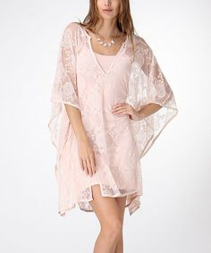 Take a look at the Pink Lace Peasant Tunic on #zulily today!