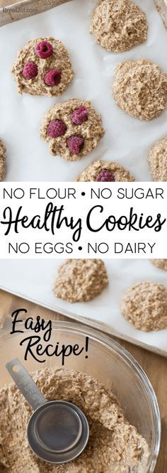 Love cookies but want a recipe with no flour, no dairy, no eggs, & no added sugar? Kids love these delicious healthy cookies that are easy to prepare. Healthy Oatmeal Cookies, Healthy Cookie Recipes, Oatmeal Cookie Recipes, Healthy Sweets, Dairy Free Recipes, Healthy Baking, Healthy Snacks, Healthy Kids, Oatmeal Cookies No Eggs