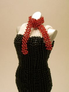 OOAK Miniature Bead Dress: Black Cocktail Includes by pinkythepink