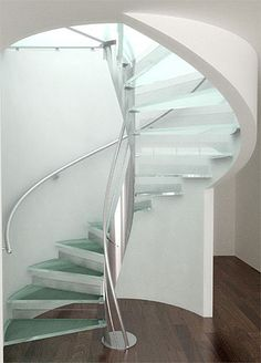 Spiral staircase - glass steps - twisted pole