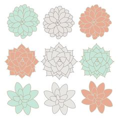 INSTANT DOWNLOAD // Digital Clip Art // Succulents Clip Art Flowers // Coral, Mint, Gray // Spring Easter Clipart