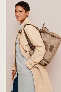 There's a style for everyone, so shop online or in store at Bentley to find the one Satchel Handbags, Fashion Lookbook, Sling Backpack, Autumn Fashion, Backpacks, Wallet, Shopping, Style, Fall
