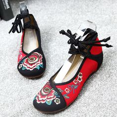 Flower Embroidered Old Peking Color Match Strappy Flat Shoes