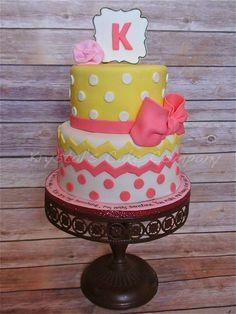 Pink & Yellow Polka Dot and Chevron Cake