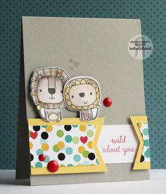 Card by Heather Pulvirenti. Reverse Confetti stamp set: Leaping Lions. Confetti Cuts: Leaping Lions and Layered Banner Duo. Circus theme. Polka dots. Valentine's card. Anniversary card. Friendship card.