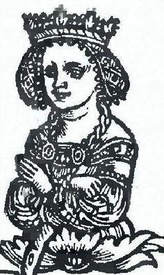 Бона Сфорца.Гравюра з трактата Ёста Людвіка Дэцыя. 1521 год.
